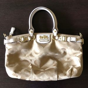 Coach Madison Purse Tan/White
